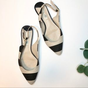 Boden Leather Striped Pointed Toe Flats